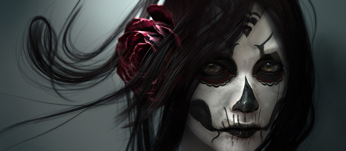 hdwallpaperpc2_com_Dia_De_Los_Muertos_Day_of_the_Dead_Face_Makeup_Skull_Drawing_Rose_Flower_1920x1080